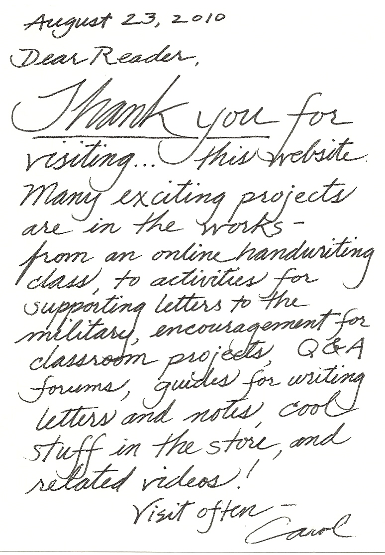 Handwritten Thank You Letter from writealetter.org