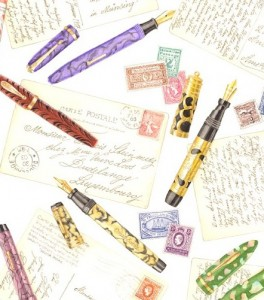 illustration of fountain pens, stamps and postcards