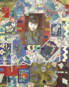 Collage with stamps, maps and portrait of an Asian beauty