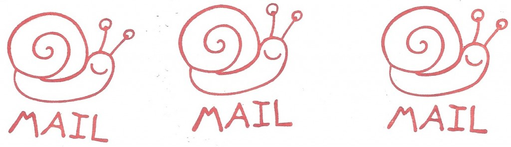 smiling snail mail stamp