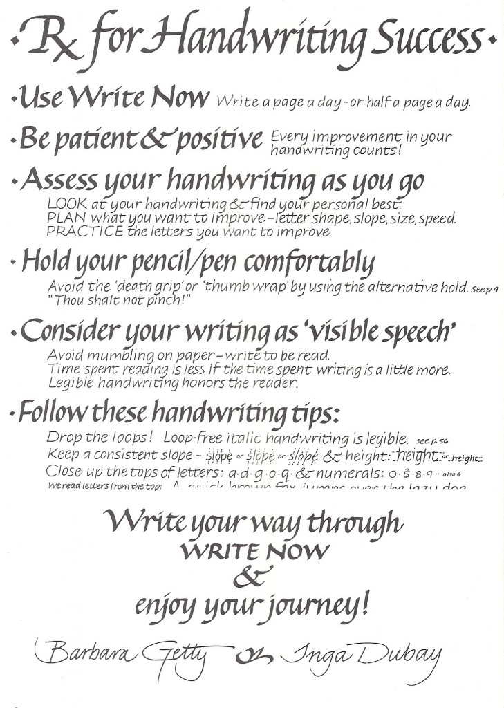 Prescriptions for Handwriting Success