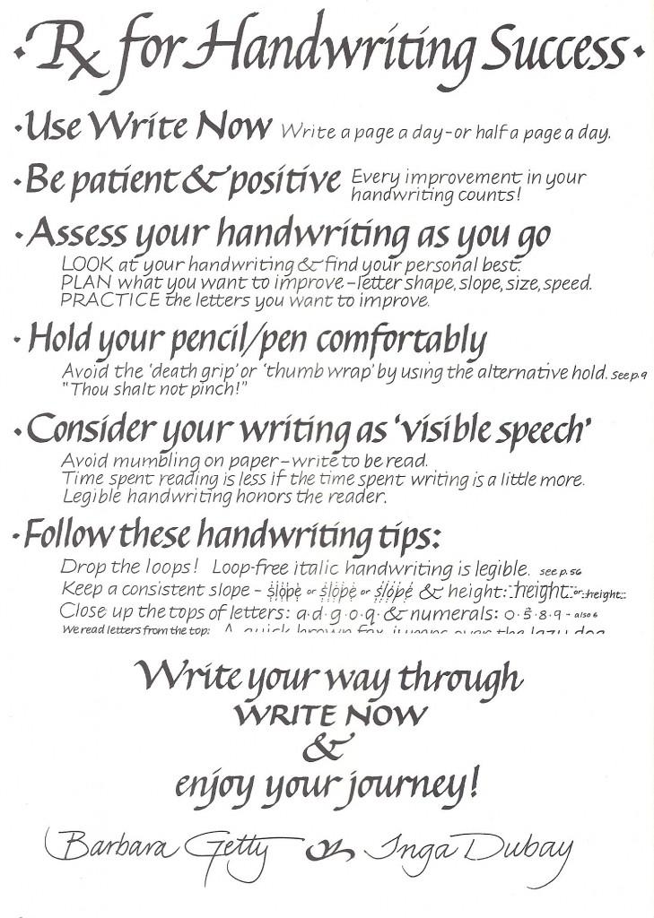prescriptions for handwriting success