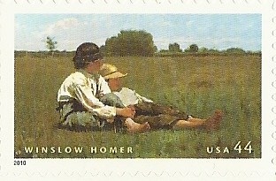 painting by Winslow Homer, 2 boys on the grass
