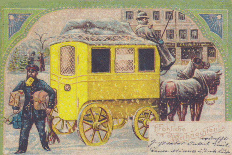 1904 christmas card image of mail carriers