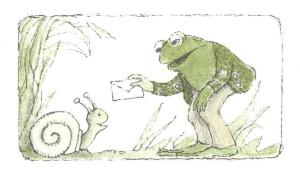 "Frog giving his letter to Snail from ""Frog and Toad are Friends"""