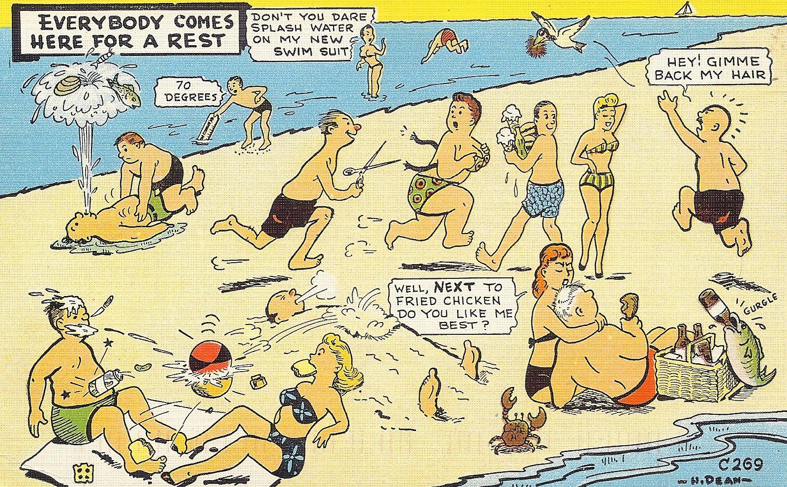 At the beach postcard