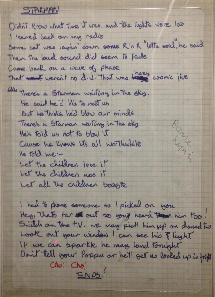David Bowie's handwriting