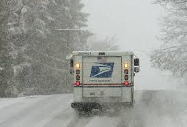 postal truck from behind