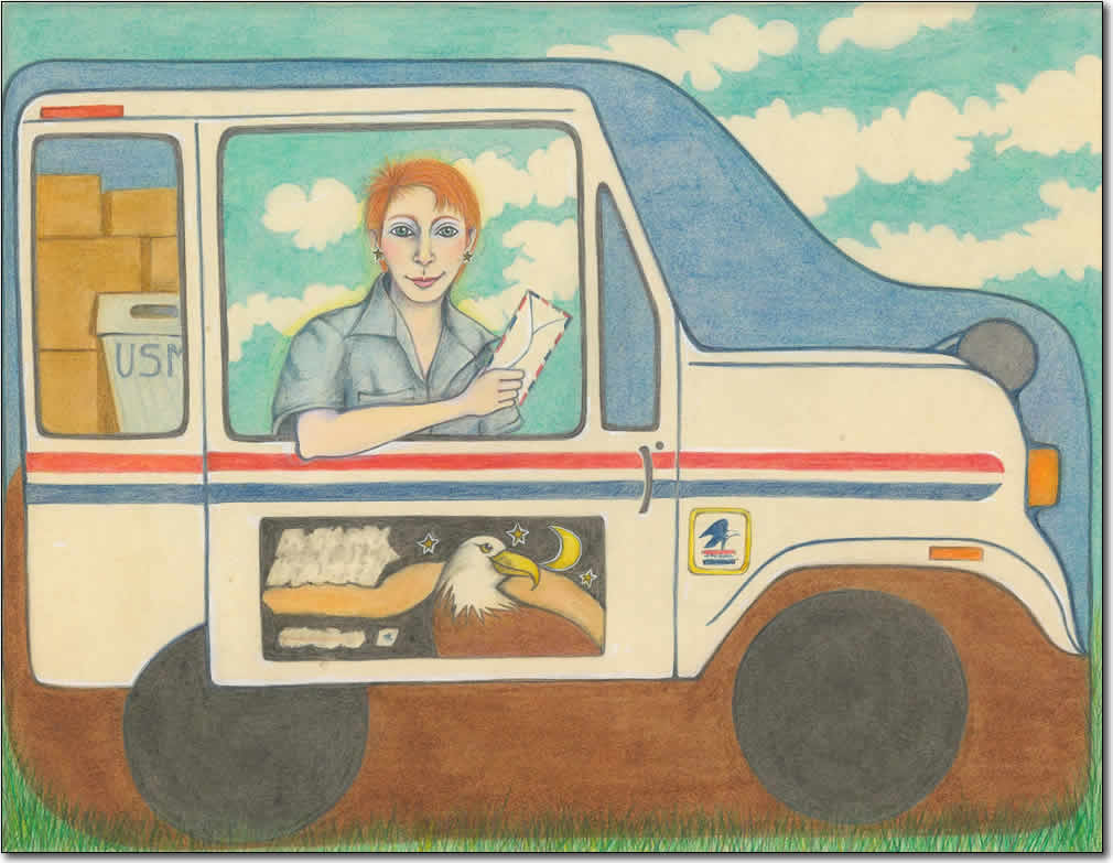 Carol in Mail Truck Self Portrait
