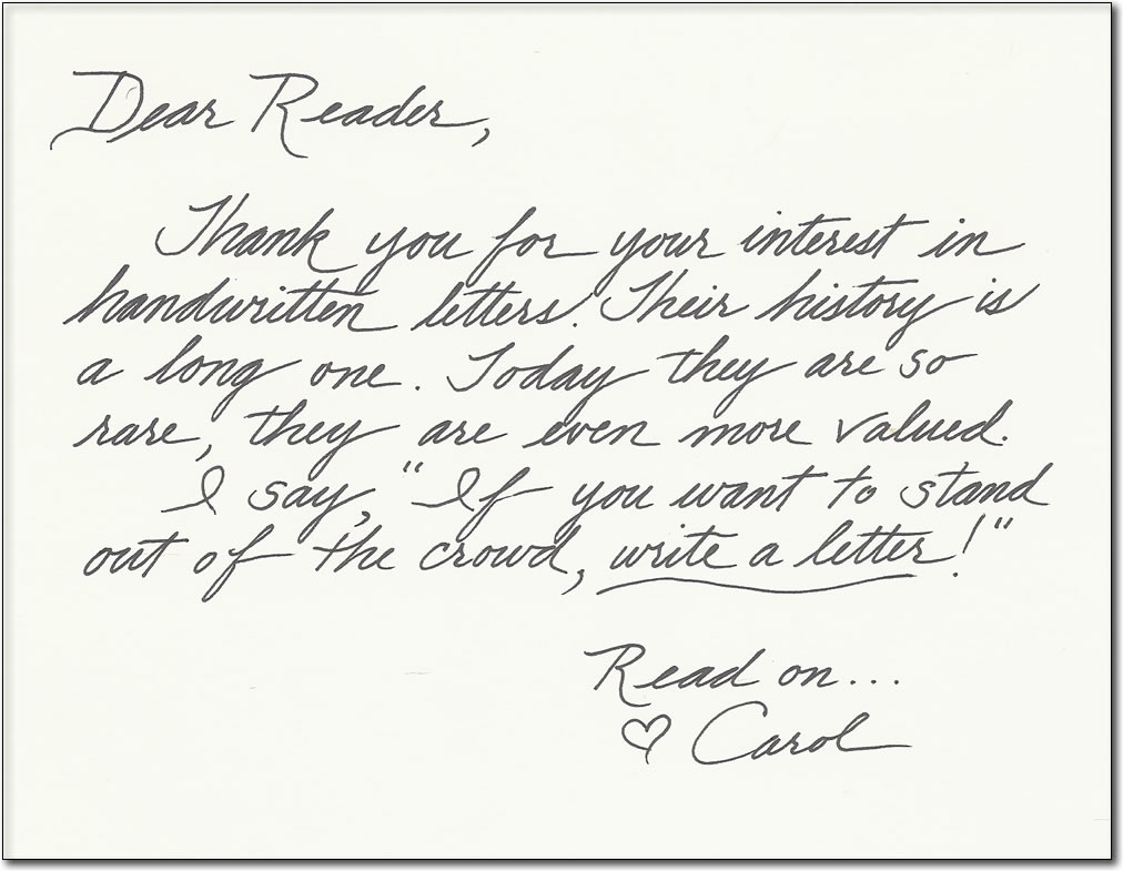 Dear Reader Note from Carol